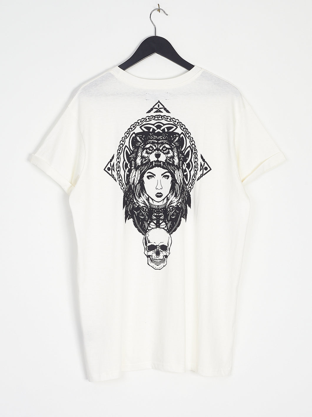 NIGHT ADDICT WHITE CELTIC BACK PRINT TEE BACK