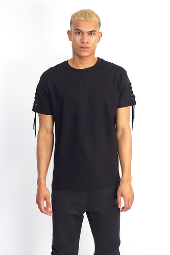 NIGHT ADDICT BLACK LACE SLEEVE TEE FRONT