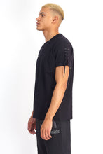 LACE SLEEVE TEE - BLACK