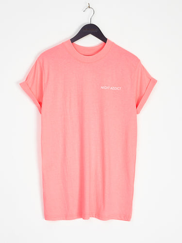 NIGHT ADDICT FADED NEON PINK LOGO TEE