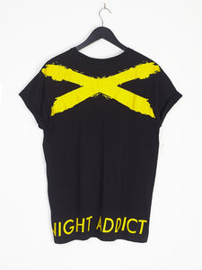 NIGHT ADDICT BLACK WITH YELLOW CROSS PRINT TEE BACK