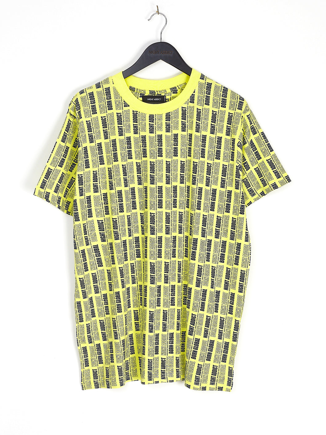 NIGHT ADDICT NEON YELLOW ALL OVER LOGO PRINT TEE FRONT