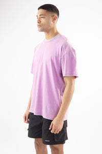 PURPLE ACID WASH CHEST PRINT TEE
