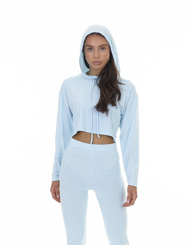 CROPPED RIBBED HOODIE - ICE BLUE