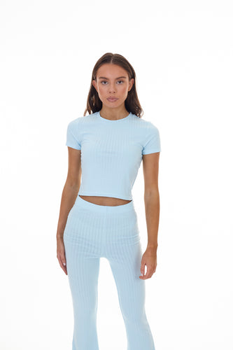 CROPPED RIBBED TEE - ICE BLUE