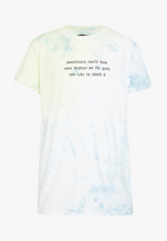 NIGHT ADDICT TIE DYE SLOGAN T-SHIRT - BLUE
