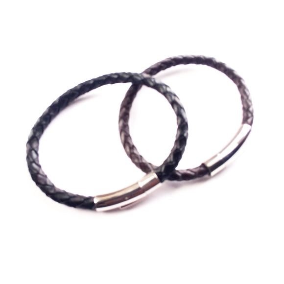 Men Sleek Braided Leather Bracelet. - alcobacco-store