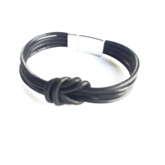 Unisex Knotted Leather Cord Bracelet - alcobacco-store