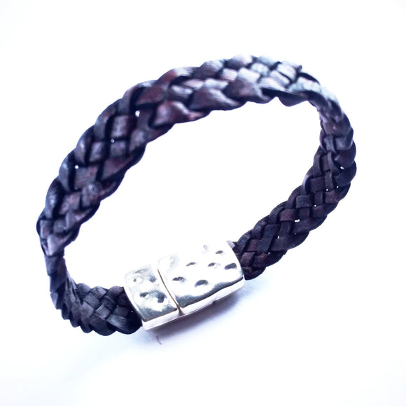 Brown Braided Flat Leather Bracelet - alcobacco-store