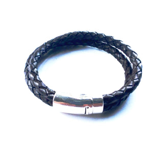 Men 6mm Double Braided leather Bracelet