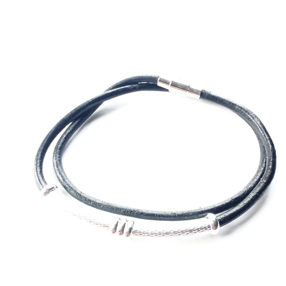 Women Double Wrap Black Leather Cord Bracelet - alcobacco-store