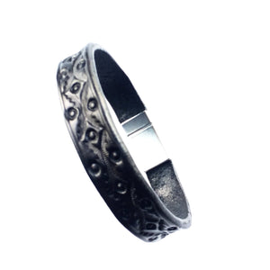 Men & Women Black Tooled Leather Bracelet