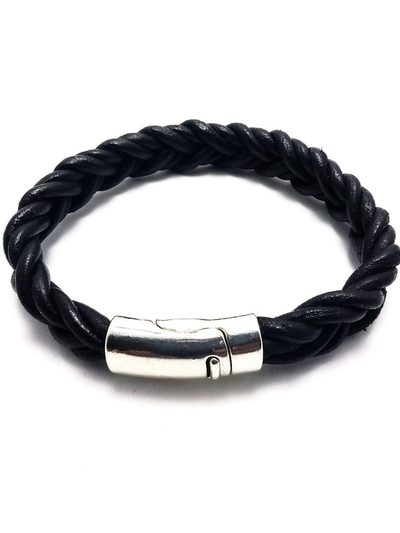 Men braided leather cord bracelet - Black - alcobacco-store