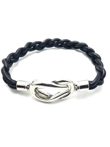 Braided Leather Cord Bracelet With Marine Knot Magnetic Clasp