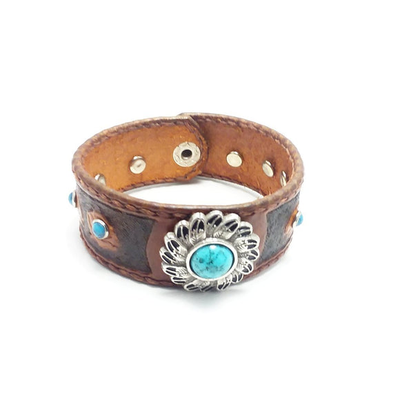 Women Tooled Leather Bracelet With Silver Turquise Concho and Riverts - Brown - alcobacco-store