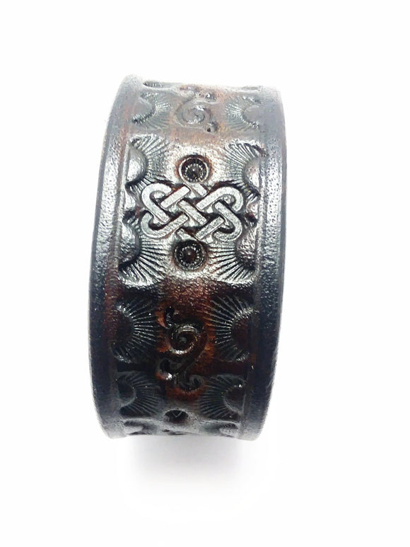 Dark Brown Tooled Leather Bracelet - alcobacco-store