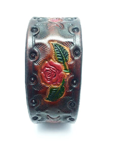 Hand Tooled Rose Cuff Leather Bracelet - alcobacco-store