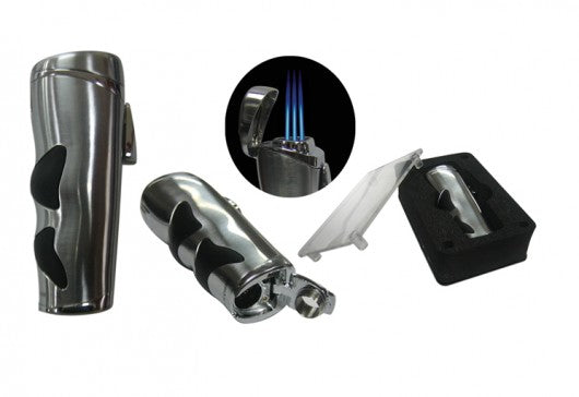 Triple Flame Torch with Rubber Grip And Fold-Out Cigar Bullet Cutter