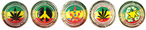 Small Rasta Color Collectible Glass Ashtray - alcobacco-store