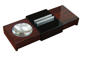 Lacquer Brazilian Rosewood Cigar Sliding Ashtray With Humidor And Humidifier - alcobacco-store