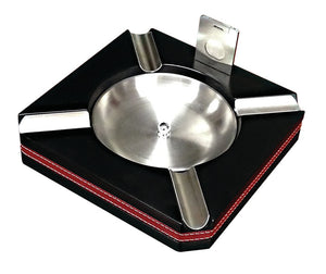 Leather Trim Ashtray With Cutter - alcobacco-store
