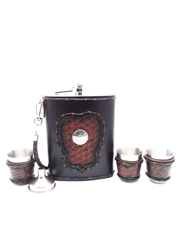 Alcobacco Buffalo Concho Leather Flask Set