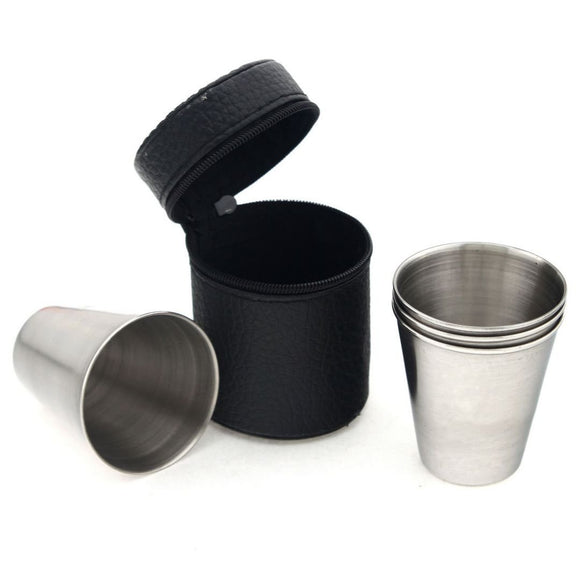 Set of 4 Stainless Steel Shot Cups In Black Leather Case