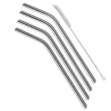 4 Pieces Reusable Stainless Steel Straws With One Cleaning Brush - alcobacco-store
