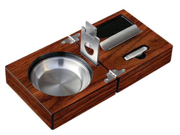 High Gloss Walnut Folding Cigar Ashtray Set With Accessories