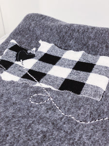 White and Black Plaid Personalized Long Distance Blanket