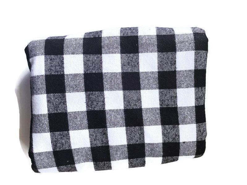 Custom State Blanket | Black and White Plaid