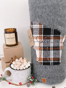 Wisconsin Custom State Blanket | Fall Plaid
