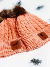 Load image into Gallery viewer, Bubblegum Pink Winter Beanie with Leather Patch