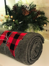 "Load image into Gallery viewer, Custom State Red Buffalo Plaid Fleece Blanket | 66""x90"" 