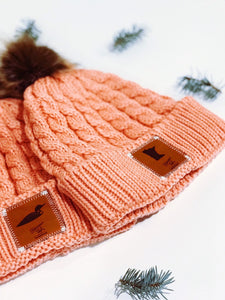 Bubblegum Pink Winter Beanie with Leather Patch