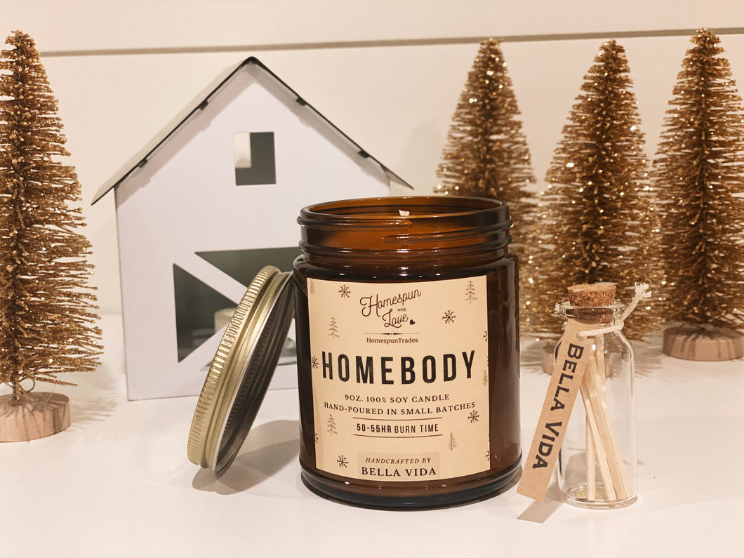 Homebody Candle | Soy Candle | Valentines Gift | Cinnamon | Vanilla | Nugmeg