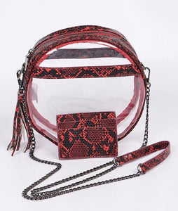 Snakeskin Clutch - Red