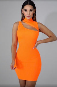 Pretty Hot and Tempting Dress - Neon Orange