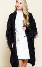 Load image into Gallery viewer, Glitzy Fringe Cardigan - Black