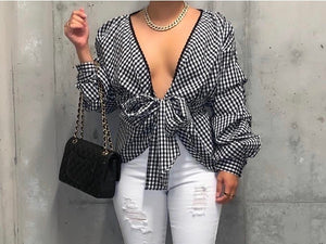 Puff Sleeve Black + White Top