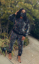 Load image into Gallery viewer, Black Queen Sequin Jogger Set