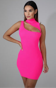 Pretty Hot and Tempting Dress - Neon Pink