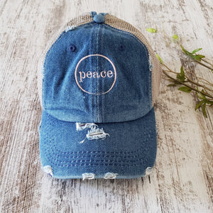 Peace Denim Trucker Hat