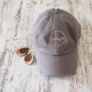 PEACE Khaki Baseball Cap & Earring Duo
