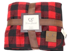 C.C Home Buffalo Check Sherpa Lined Throw - Red
