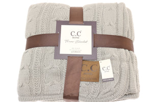 C.C Home Sherpa-lined Cable Knit Blanket - Beige