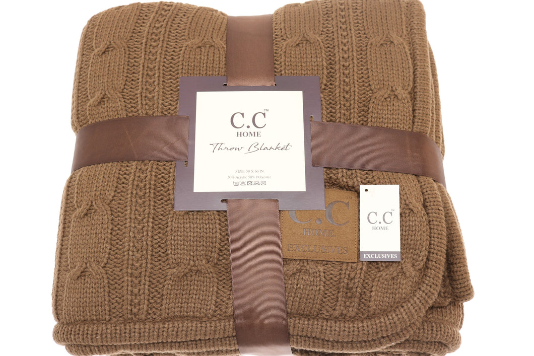 C.C Home Sherpa-lined Cable Knit Blanket - CAMEL