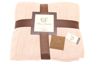 C.C Home Sherpa-lined Cable Knit Blanket - Pink