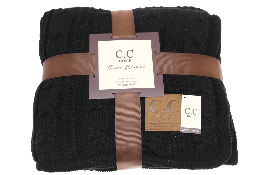C.C Home Sherpa-lined Cable Knit Blanket - Black