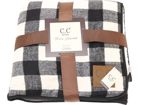 C.C Home Buffalo Check Sherpa Lined Throw - B & W